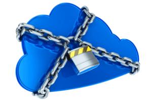 Eine Cloud Wolke von einer Kette umschlossen soll Sicherheit symbolisieren